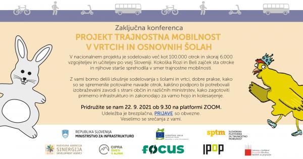 Zaključna konferenca projekta Trajnostna mobilnost v vrtcih in šolah